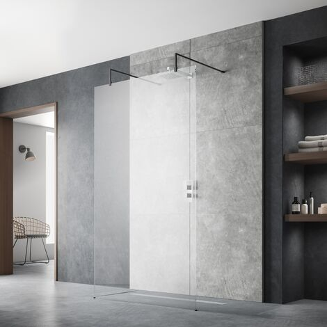 Hudson Reed Wet Room Screen with Support Arms and Feet 1100mm Wide - 8mm Glass