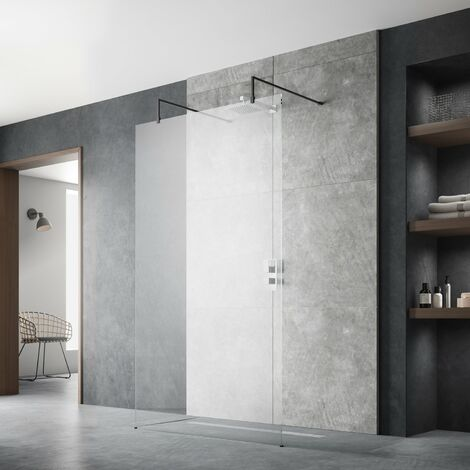 Hudson Reed Wet Room Screen with Support Arms and Feet 800mm Wide - 8mm Glass