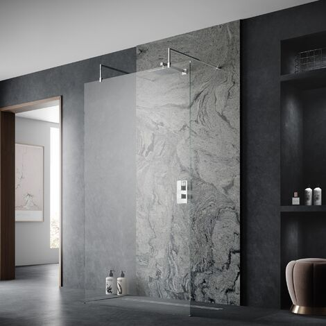 Hudson Reed Wetroom Screen 1200mm Wide with Arms and Feet - 8mm Glass