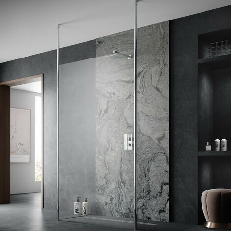Hudson Reed Wetroom Screen 1400mm Wide with Ceiling Post - 8mm Glass