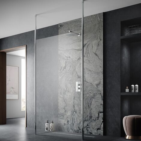 Hudson Reed Wetroom Screen 700mm Wide with Ceiling Post - 8mm Glass