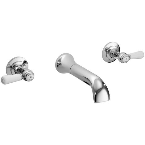 Hudson Reed White Topaz Lever 3-Hole Basin Mixer Tap Wall Mounted - Chrome