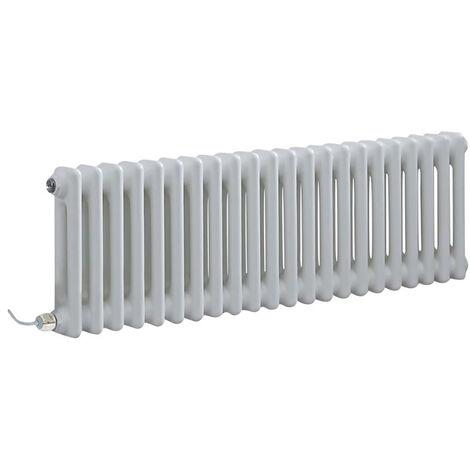 Hudson Reed Windsor - Radiateur Électrique Style Fonte Rétro Horizontal Double Rang - Blanc - 30 cm x 101 cm - Choix du thermostat