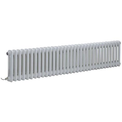 Hudson Reed Windsor - Radiateur Électrique Style Fonte Rétro Horizontal Double Rang - Blanc - 30 cm x 150 5 cm - Choix du thermostat