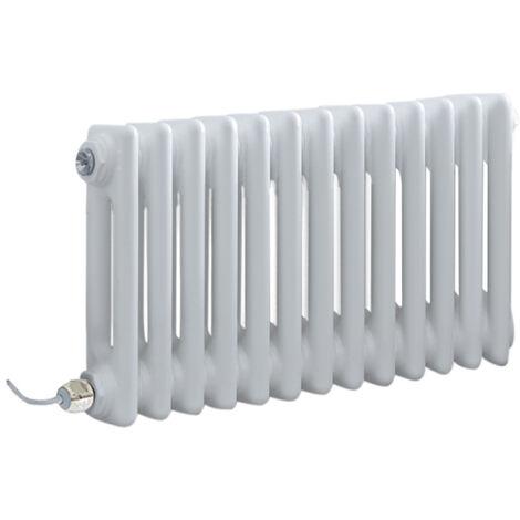 Hudson Reed Windsor - Radiateur Électrique Style Fonte Rétro Horizontal Double Rang - Blanc - 30 cm x 60 5 cm - Choix du thermostat