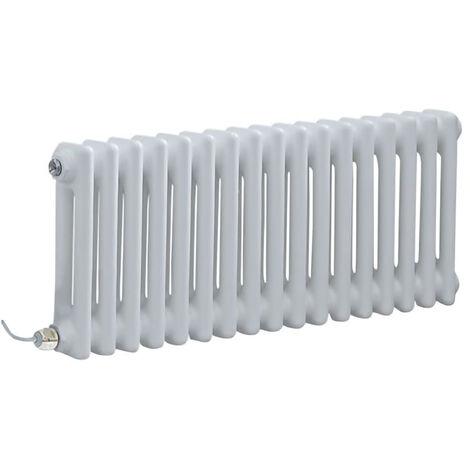 Hudson Reed Windsor - Radiateur Électrique Style Fonte Rétro Horizontal Double Rang - Blanc - 30 cm x 78 5 cm - Choix du thermostat