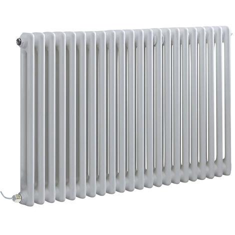 Hudson Reed Windsor - Radiateur Électrique Style Fonte Rétro Horizontal Double Rang - Blanc - 60 cm x 101 cm - Choix du thermostat