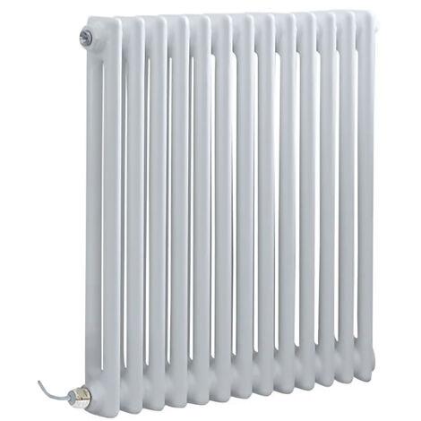 Hudson Reed Windsor - Radiateur Électrique Style Fonte Rétro Horizontal Double Rang - Blanc - 60 cm x 60 5 cm - Choix du thermostat