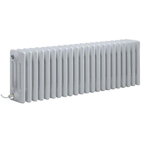 Hudson Reed Windsor - Radiateur Électrique Style Fonte Rétro Horizontal Quatre Rangs - Blanc - 30 cm x 101 cm - Choix du thermostat