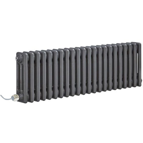 Hudson Reed Windsor - Radiateur Électrique Style Fonte Rétro Horizontal Triple Rang - Acier Brut Laqué - 30 cm x 101 cm - Choix du thermostat