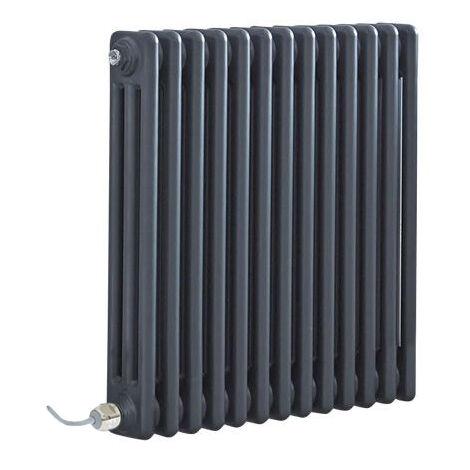 """main image of """"Hudson Reed Windsor - Radiateur Électrique Style Fonte Rétro Horizontal Triple Rang - Anthracite - 60 cm x 60 5 cm - Choix du thermostat"""""""