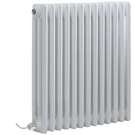 Hudson Reed Windsor - Radiateur Électrique Style Fonte Rétro Horizontal Triple Rang - Blanc - 60 cm x 60 5 cm - Choix du thermostat