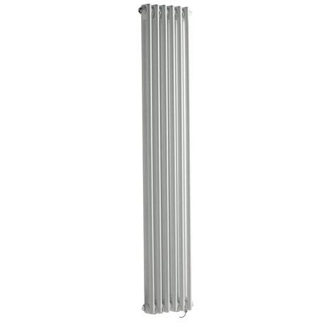 """main image of """"Hudson Reed Windsor - Radiateur Électrique Style Fonte Rétro Vertical Double Rang - Blanc - 150 cm x 29 cm - Choix du thermostat"""""""