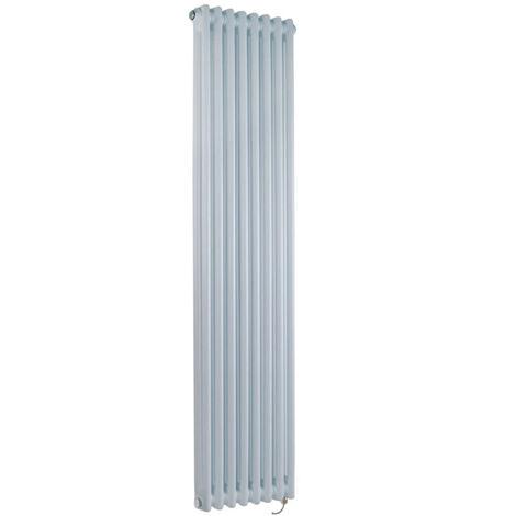 Hudson Reed Windsor - Radiateur Électrique Style Fonte Rétro Vertical Double Rang - Blanc - 150 cm x 38 cm - Choix du thermostat