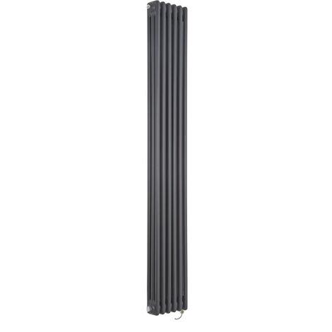 Hudson Reed Windsor - Radiateur Électrique Style Fonte Rétro Vertical Triple Rang - Anthracite - 180 cm x 29 cm - Choix du thermostat