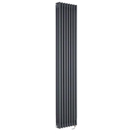 Hudson Reed Windsor - Radiateur Électrique Style Fonte Rétro Vertical Triple Rang - Anthracite - 180 cm x 38 cm - Choix du thermostat