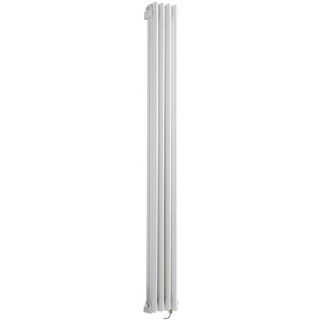 """main image of """"Hudson Reed Windsor - Radiateur Électrique Style Fonte Rétro Vertical Triple Rang - Blanc - 180 cm x 20 cm - Choix du thermostat"""""""