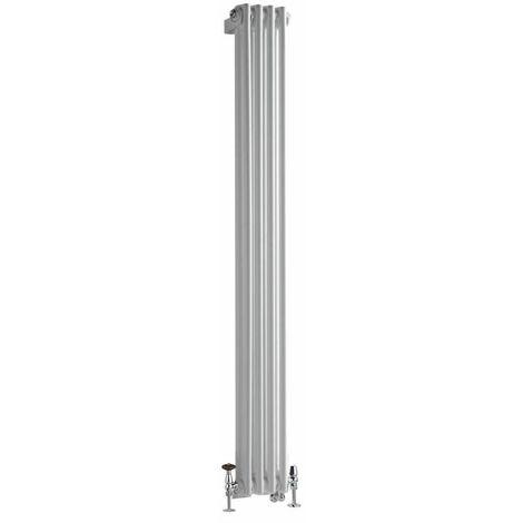 Hudson Reed Windsor - Radiateur Mixte Style Fonte Rétro Vertical Double Rang et Robinets Thermostatiques d\'Angle - Blanc - 150 cm x 20 cm
