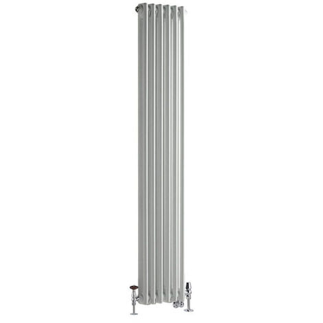 Hudson Reed Windsor - Radiateur Mixte Style Fonte Rétro Vertical Double Rang et Robinets Thermostatiques d'Angle - Blanc - 150 cm x 29 cm