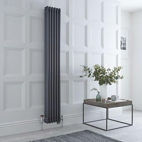 Hudson Reed Windsor - Radiateur Mixte Style Fonte Rétro Vertical Triple Rang et Robinets Thermostatiques d'Angle - Anthracite - 180 cm x 29 cm