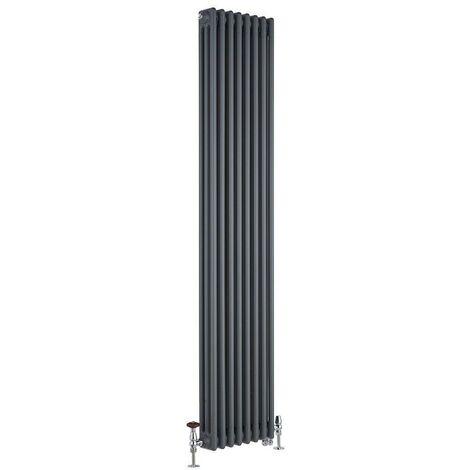Hudson Reed Windsor - Radiateur Mixte Style Fonte Rétro Vertical Triple Rang et Robinets Thermostatiques d'Angle - Anthracite - 180 cm x 38 cm