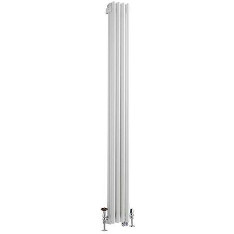 Hudson Reed Windsor - Radiateur Mixte Style Fonte Rétro Vertical Triple Rang et Robinets Thermostatiques d'Angle - Blanc - 180 cm x 20 cm