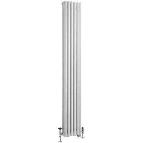 Hudson Reed Windsor - Radiateur Mixte Style Fonte Rétro Vertical Triple Rang et Robinets Thermostatiques d'Angle - Blanc - 180 cm x 29 cm