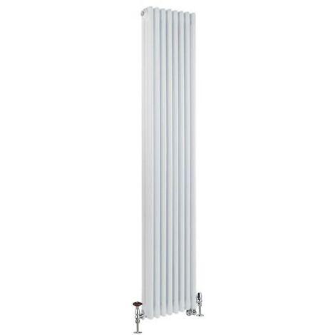 Hudson Reed Windsor - Radiateur Mixte Style Fonte Rétro Vertical Triple Rang et Robinets Thermostatiques d'Angle - Blanc - 180 cm x 38 cm