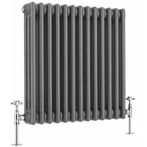Hudson Reed Windsor - Radiateur Rétro Horizontal à Colonnes 3 x 13 Finition Acier Brut - 939 Watts - 60 x 60,5cm