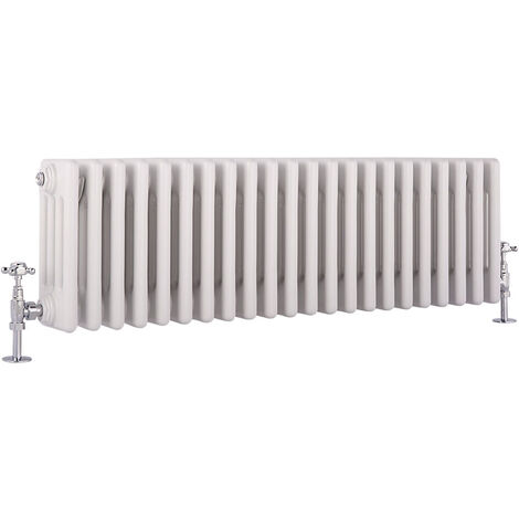 Hudson Reed Windsor - Radiateur Rétro Horizontal Blanc à Colonnes 4 x 22 - 1057 Watts - 30 x 101cm