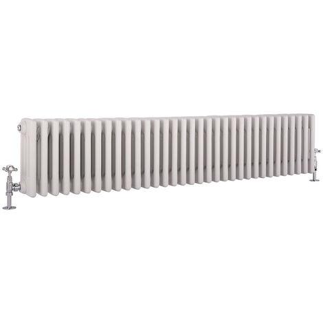 Hudson Reed Windsor - Radiateur Rétro Horizontal Blanc à Colonnes 4 x 33 - 2070 Watts - 30 x 150,5cm