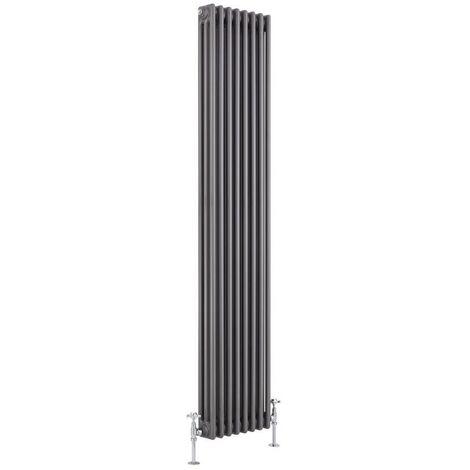 Milano Hudson Reed Windsor 180 x 38cm 1543 Watts Radiateur R/étro Vertical /à Colonnes 3 x 8 Finition Acier Brut