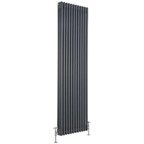 Hudson Reed Windsor - Radiateur Rétro Vertical Anthracite à Colonnes 3 x 12 - 2314 Watts - 180 x 56cm