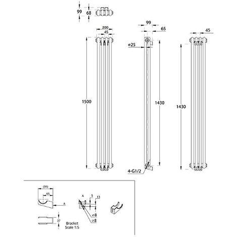 Hudson Reed Windsor - Radiateur Rétro Vertical Blanc à Colonnes 2 x 4 - 544 Watts - 150 x 20cm