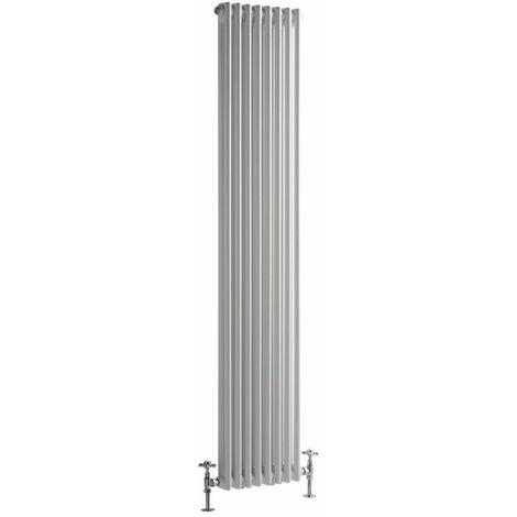 Hudson Reed Windsor - Radiateur Rétro Vertical Blanc à Colonnes 2 x 8 - 1239 Watts - 180 x 38cm