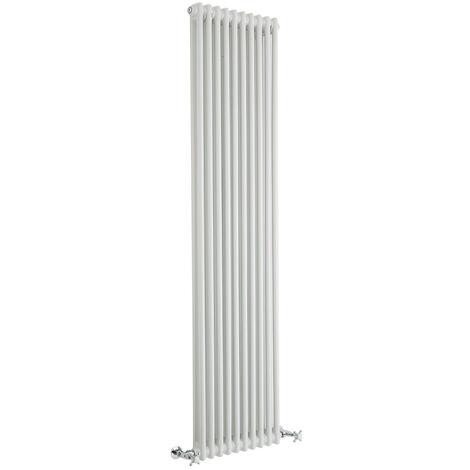 Hudson Reed Windsor - Radiateur Rétro Vertical Blanc à Colonnes 2 x 8 - 1550 Watts - 180 x 47cm