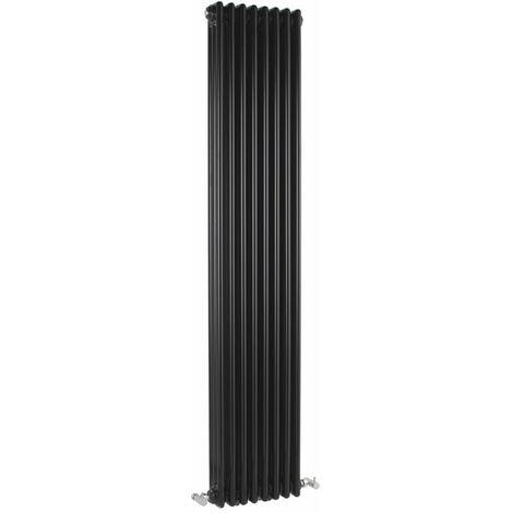Hudson Reed Windsor - Radiateur Vertical Noir 3 Colonnes - 1543 Watts - 180 x 38cm