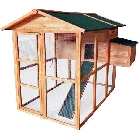 Hühnerhaus Hühnerstall aus Holz mit Freilaufgehege Nistplatz und großer Tür