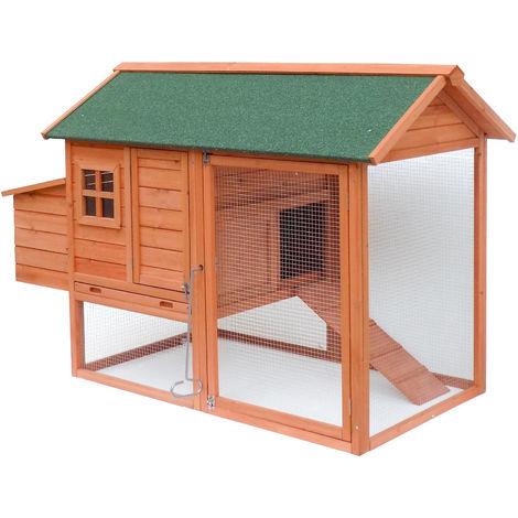 Hühnerstall mit Freilauf und erhöhtem Unterschlupf, aus Fichtenholz, mit Teerdach, 1710x800x1100 mm