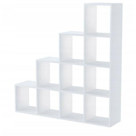 HUELVA - Etagère escalier - 10 casiers - 138x138x30cm - Bibliothèque - Style scandinave - Meuble de rangement - Blanc