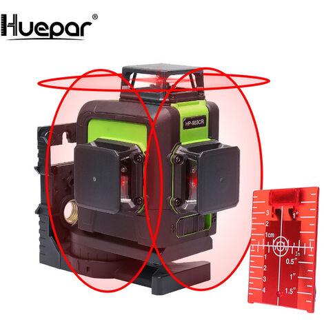 Huepar 12 Lignes 3D Cross Line Niveau Laser Auto-nivelant 360 degr¨¦s Croix verticale et horizontale Super puissante ligne de faisceau Laser rouge 903CR