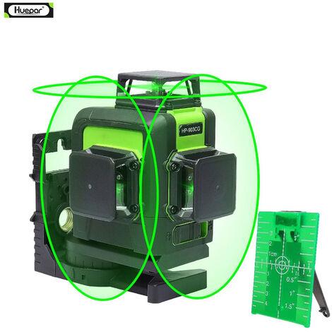 Huepar 3x360 niveau laser 3D vert Cross Line Laser Auto Nivellement 147ft 45m grande puissance 903CG