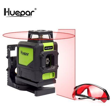 Huepar 5 líneas Nivel rojo Laser Cross Line 360 Rotary Vertrical Horizontal Autonivelante Juegos de láseres y gafas de mejora láser