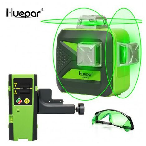 Huepar 603CG Nivel de láser verde autonivelante 3 × 360 Línea de nivelación transversal y alineación de más de 40 m en tres planos: dos líneas verticales a 360 ° y una línea horizontal a 360 ° - Base giratoria magnética