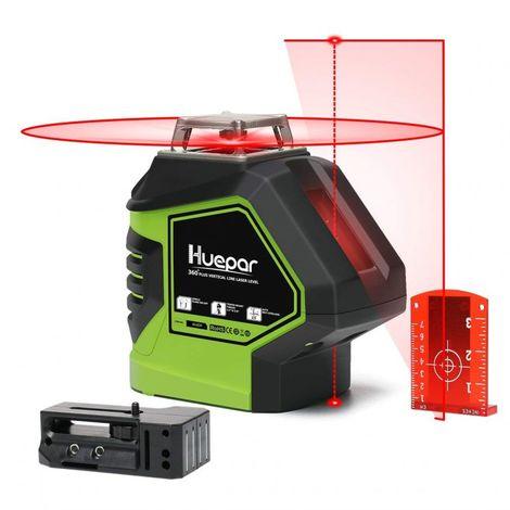 Huepar 621CR Nivel Láser Rojo Autonivelante 360° Herramienta Láser de Líneas Cruzadas con 2 Puntos de Plomada Haz Vertical Horizontal 360° con Puntos Arriba Y Abajo Base Giratoria Magnética