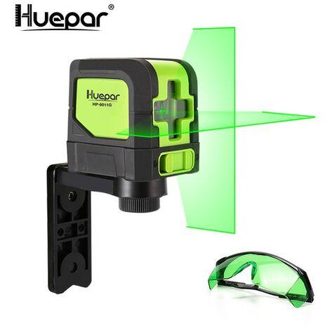 """main image of """"Huepar 9011G Livella Laser Verde, Livella Laser a croce 30m, Autolivellante 110° Orizzontale/ 110° Verticale con Pendolo bloccaggio, 360° Rotante Supporto Regolabile (2 Batteria Inclusa)"""""""