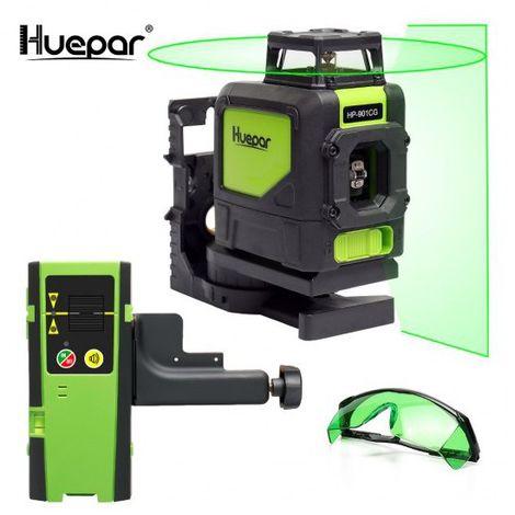 Huepar 901CG 1 x 360 Nivel láser de cruz verde, Línea láser autonivelante conmutable Línea horizontal de 360 grados con modo pulsado al aire libre, Distancia de trabajo 25m, Soporte magnético incluido