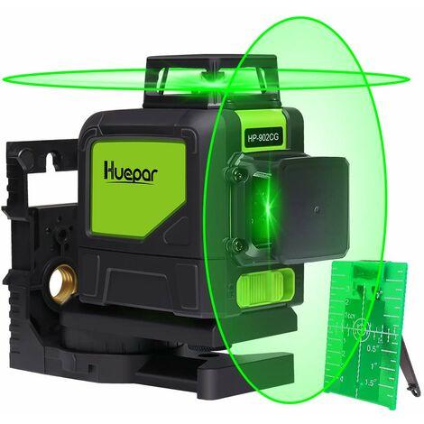 Huepar 902CG 2 x 360 Niveau Laser Croix Vert, Ligne Laser Auto-nivellement Commutable Laser Lignes de 360 degr¨¦s avec Mode Puls¨¦ Ext¨¦rieur, Distance de Travail 25m, Support Magn¨¦tique Incluse
