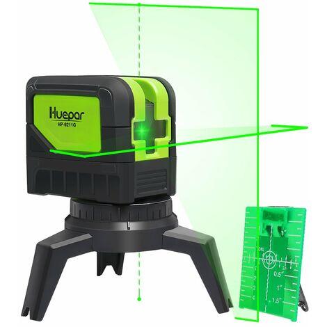 Huepar 9211G Niveau Laser Croix Vert avec 2 Points Laser, DIY Ligne Laser avec Fonction de Auto-nivellement et Inclinaison, Distance de Travail 15m, Support Magn¨¦tique et 2 Piles Incluse