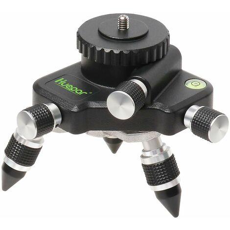 """Huepar AT2 Adaptateur de Niveau Laser 360° Tournant Réglable, Connecteur de Trépied, avec Filetage Mâle 1/4""""-20 et Bulle Horizontale, Micro à Réglage Manuel - Base Pivotante à Rotation Précise"""